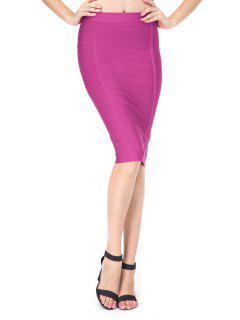 Jupe Fourreau à Taille Haute - Violet Rose L