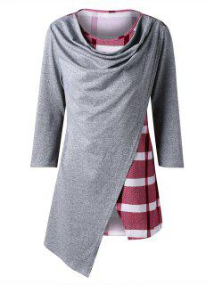 Marled Plaid Cowl Neck Top - Red Xl