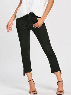 Frayed Hem Zipper Cropped Jeans - Black L