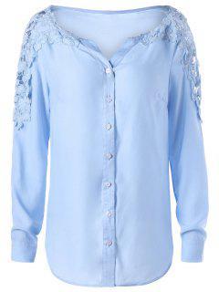 Lace Panel Long Sleeve Shirt - Windsor Blue M