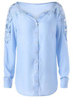 Lace Panel Long Sleeve Shirt - Windsor Blue 2xl