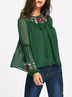 Floral Embroidered Bell Sleeve Tassel Blouse - Green L