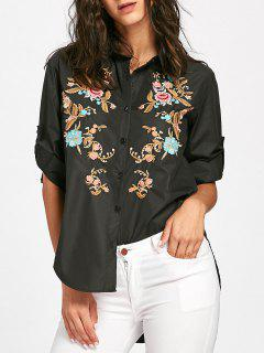 Floral Embroidered High Low Blouse - Black S