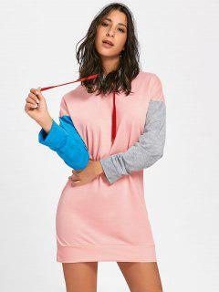 Drawstring Color Block Mini Hoodie Dress - Pink Xl