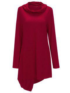 Cowl Neck Asymmetric Sweatshirt Dress - Red M