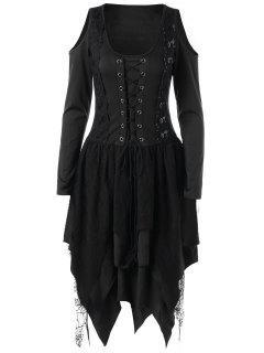 Halloween Lace Up Robe De Mouchoir En Couches - Noir 2xl