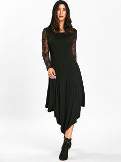 Halloween Spider Web Cut Out Midi Handkerchief Dress - Black L