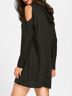 Cold Shoulder Mini Hoodie Dress - Black M