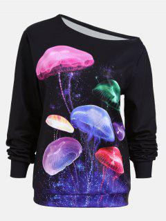 Skew Neck Multicolor Jellyfish Print Sweatshirt - Black L