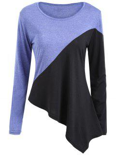 Two Tone Asymmetrical Tunic T-shirt - Xl
