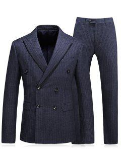 Pinstripe Men Blazer And Pants Suit - Deep Gray 3xl
