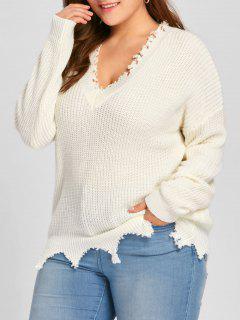 Plus Size V Neck Raw Hem Sweater - Off-white 2xl