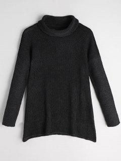 Turtleneck Drop Shoulder Tunic Sweater - Black L