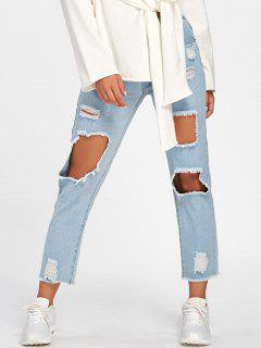 Faded Destroyed Jeans - Light Blue L