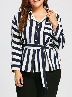 Plus Size Stripe Front Pocket Shirt With Belt - Purplish Blue 3xl