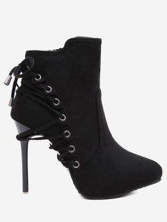 Pointed Toe Eyelet Stiletto Ankle Boots - Black 37