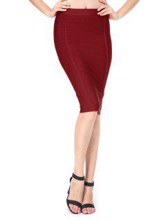 High Waist Bandage Skirt - Deep Red L