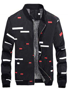 Zip Up Geometric Print Flocking Jacket - Black L