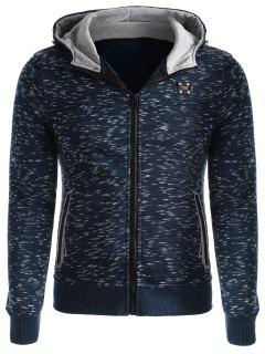 Space-dye Zip Up Fleece Hoodie - Deep Blue Xl