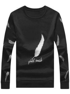 Crew Neck Feather Embroidery Sweatshirt - Black Xl