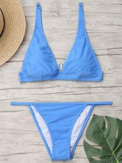 Stanzhals Bralette String Bikini Set - Hellblau M