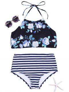 Floral Striped High Neck Bikini Set - Black M