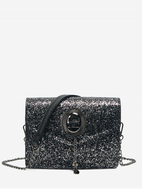 shop Chain Sequin Crossbody Bag - BLACK  Mobile