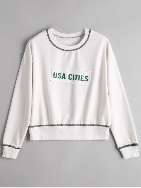 women Preppy Letter Patch Sweatshirt - WHITE ONE SIZE Mobile