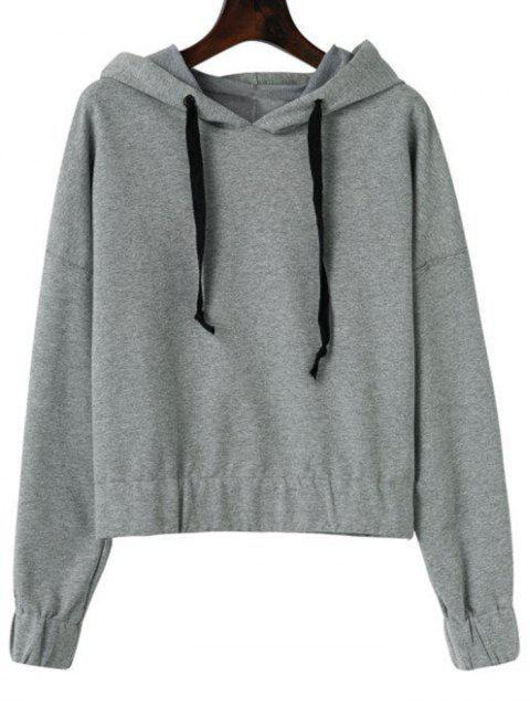new Drawstring Plain Drop Shoulder Hoodie - GRAY S Mobile