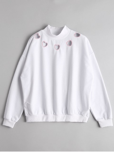 outfit High Neck Heart Cut Out Sweatshirt - WHITE M Mobile