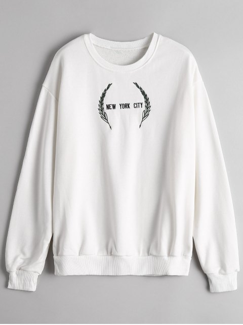 trendy Crew Neck Letter Embroidered Sweatshirt - WHITE ONE SIZE Mobile