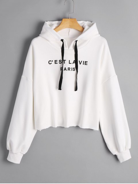 fancy Cropped French Paris Print Hoodie - WHITE M Mobile