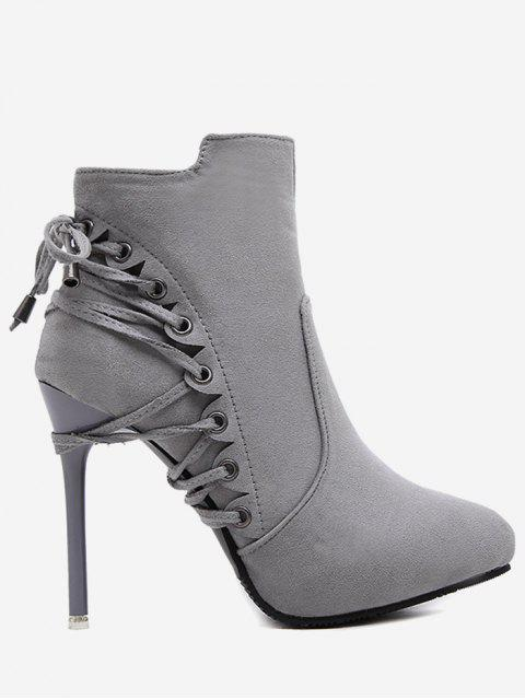 ladies Pointed Toe Eyelet Stiletto Ankle Boots - GRAY 34 Mobile
