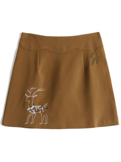 outfits Reindeer Embroidered Mini Skirt - KHAKI M Mobile