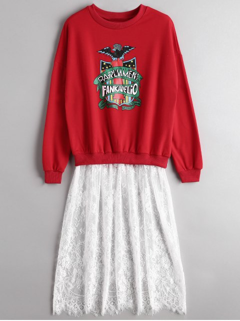 trendy Graphic Lace Panel Longline Sweatshirt - RED ONE SIZE Mobile