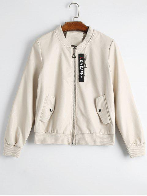 chic Badge Patched Faux Leather Jacket - APRICOT S Mobile
