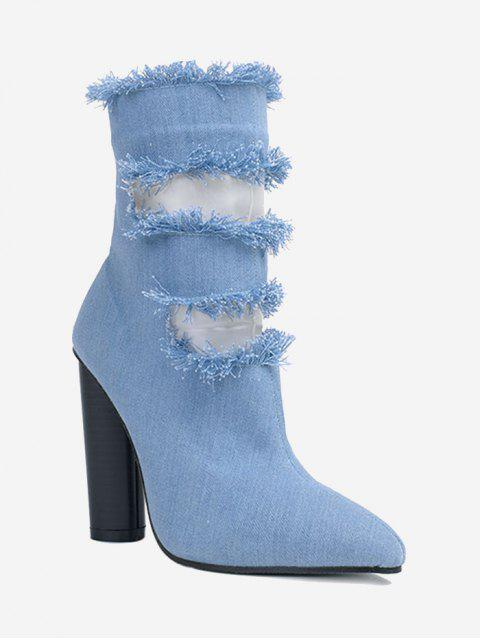 best Pointed Toe Hollow Out Chunky Heel Boots - BLUE 40 Mobile