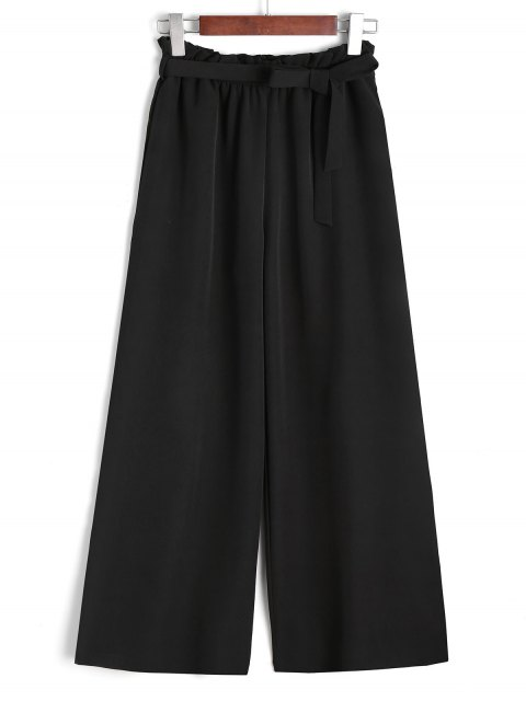 unique Ninth Belted Ruffled Wide Leg Pants - BLACK S Mobile