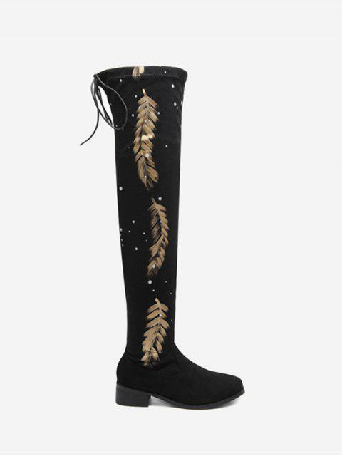 Round Toe Print Chunky Heel Thigh High Boots - Noir 39 Mobile