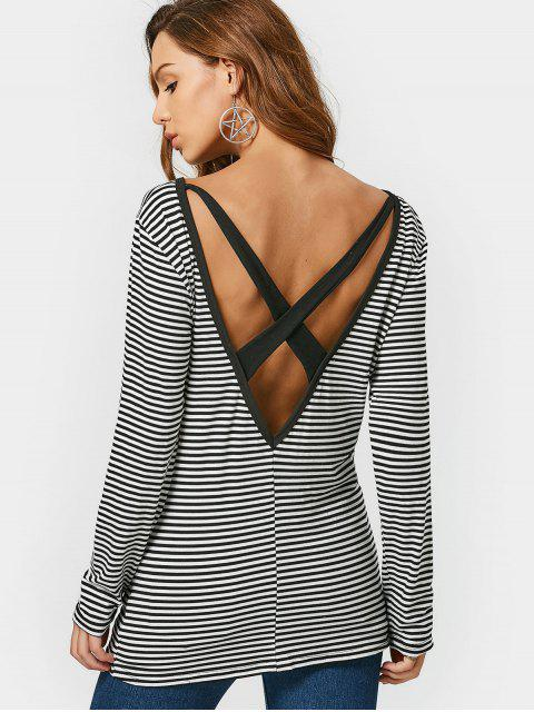 outfits Criss Cross V Shaped Back Striped Tee - STRIPE S Mobile