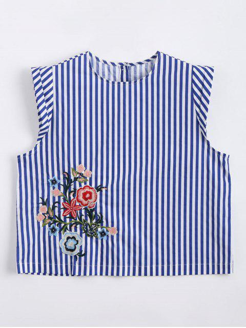 shop Cropped Floral Embroidered Stripes Tank Top - STRIPE S Mobile