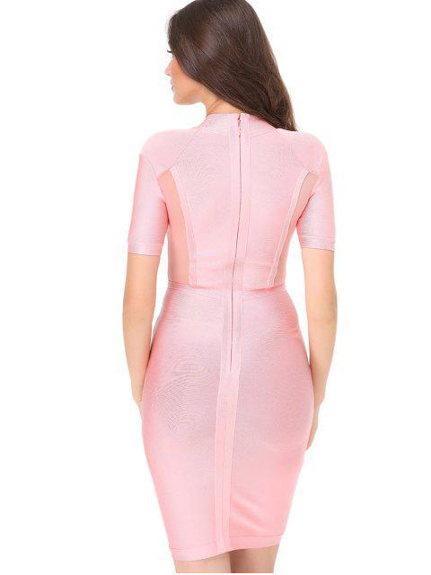Robe Ajustée à Empiècement en Tulle - Rose  L Mobile