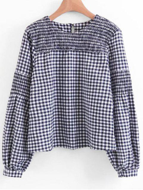 online Smocked Lantern Sleeve Plaid Blouse - CHECKED S Mobile