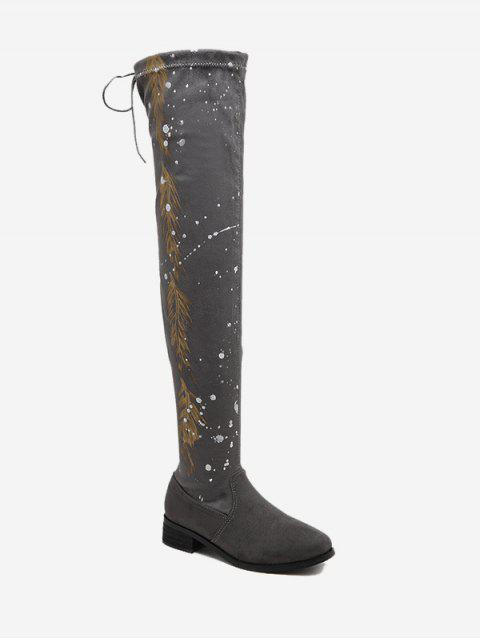 fashion Round Toe Print Chunky Heel Thigh High Boots - GRAY 36 Mobile