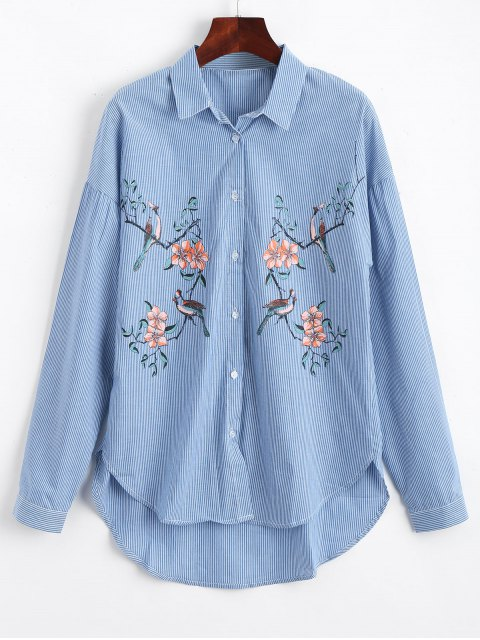 fancy Bird Floral Stripes High Low Shirt - STRIPE S Mobile