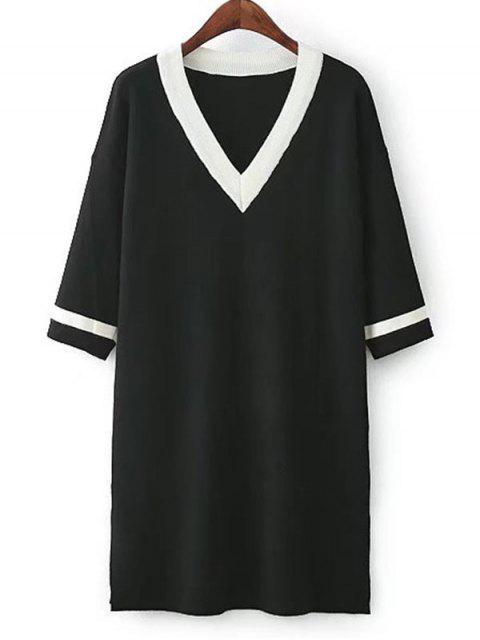 Robe Tricotée à Rayures et Fente Latérale - Noir Taille Unique Mobile