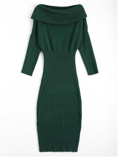 Overlap Off Schulter Pullover Bodycon Kleid - Grün Eine Größe Mobile