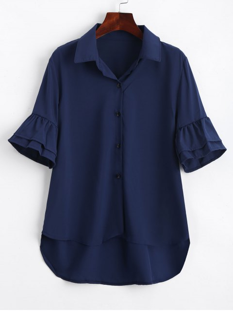 hot Half Buttoned Ruffled Sleeve Shirt - PURPLISH BLUE S Mobile