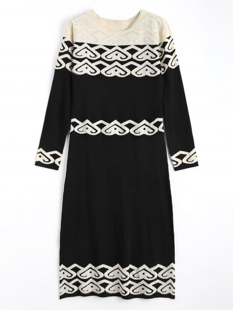 new Jacquard Long Sleeve Rhinestoned Sweater Dress - BLACK ONE SIZE Mobile