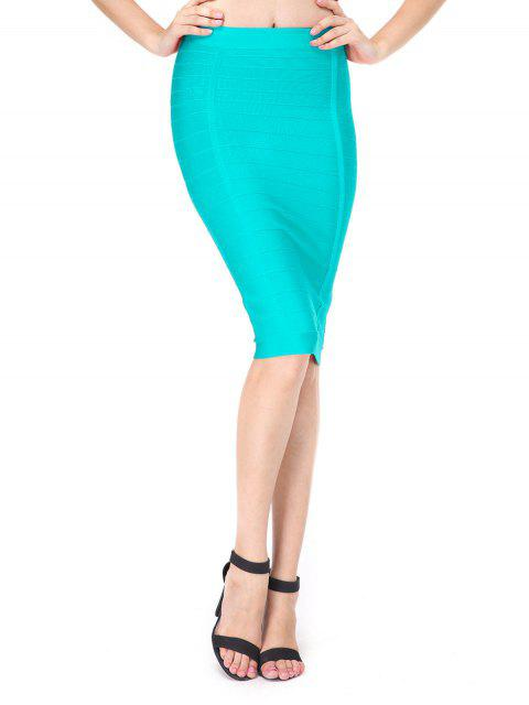 hot High Waist Bandage Skirt - LAKE BLUE L Mobile
